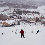 On the way down to get a hot cup of coffee. What a chilly and fun first day at Tremblant.