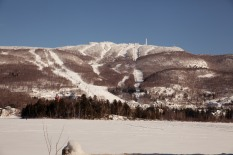 There's sunshine after the snow at Mont Tremblant. The morning view of the mountain.
