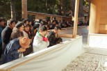 Pilgrims paying their respects to the shinto gods.